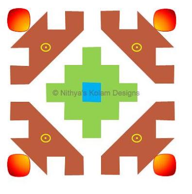 Deepam Kolam  dots 10 x 10