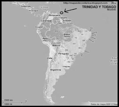 Sudamérica. Mapa de Relieve. Ubicación de TRINIDAD Y TOBAGO en Sudamérica, blanco y negro