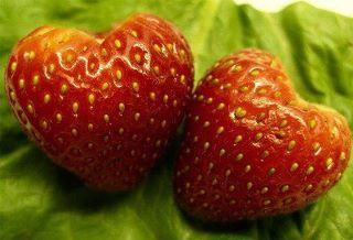 Fresas en forma de corazón