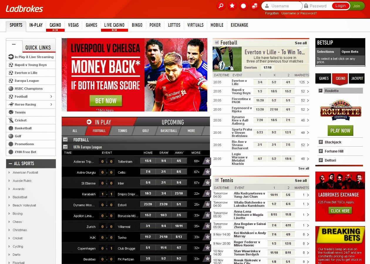 Ladbrokes Sportsbook Screen