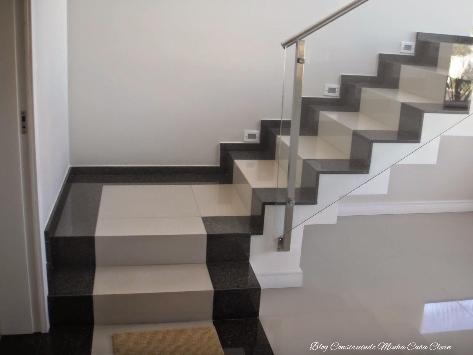 Construindo Minha Casa Clean Escadas De Porcelanato Veja