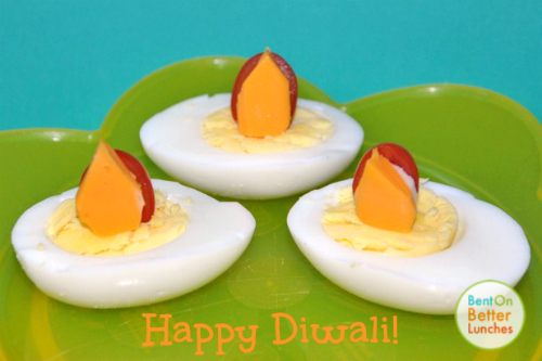 Fun Diwali snack or appetizer - egg lanterns !