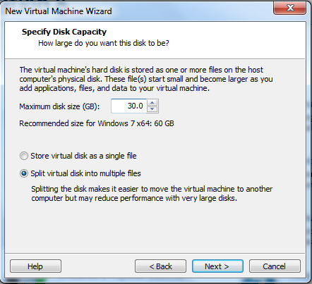 specify disk capacity for virtual machine