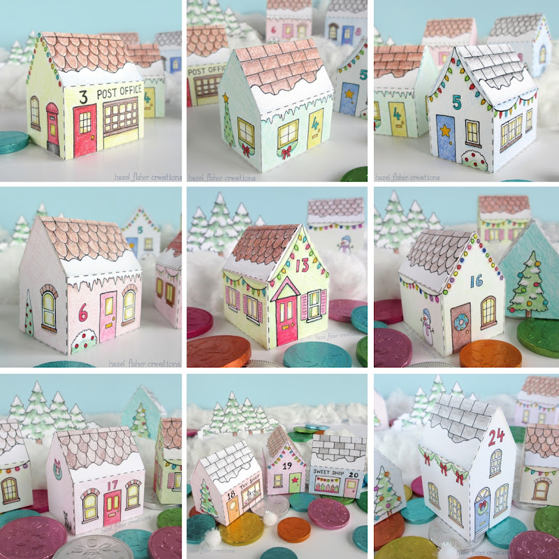 Printable Advent Calendar Village houses hazelfishercreations