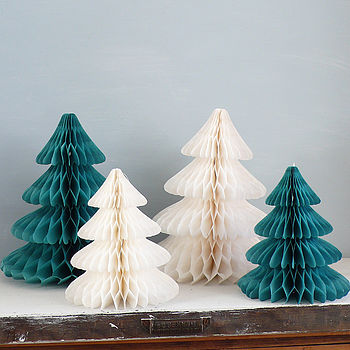 Christmas trees made from tissue paper found here paper baubles