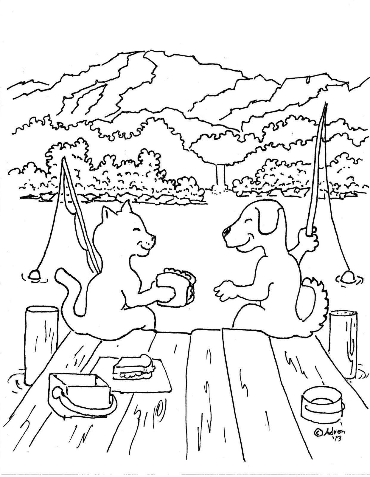 Dog and Cat Coloring Pages widescreen