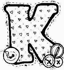 desenho de alfabeto de tecido e botoes para pintar letra K