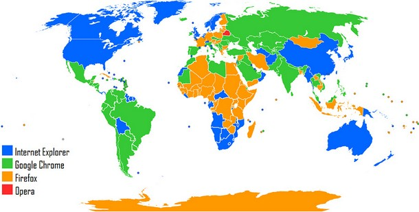 Most Used Web Browser World Map (2012)