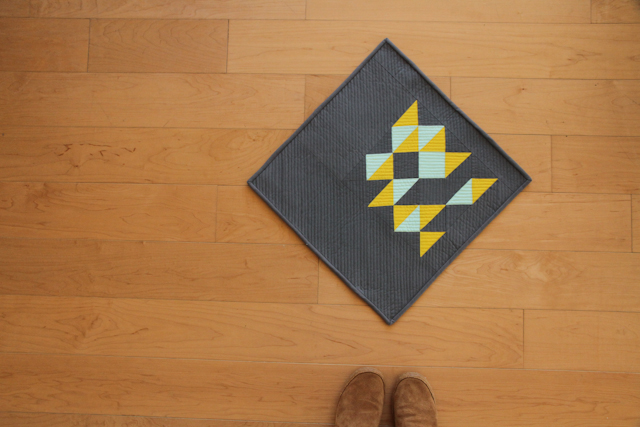 modern buckwheat mini quilt with pops of citron and aqua | by Lovely and Enough