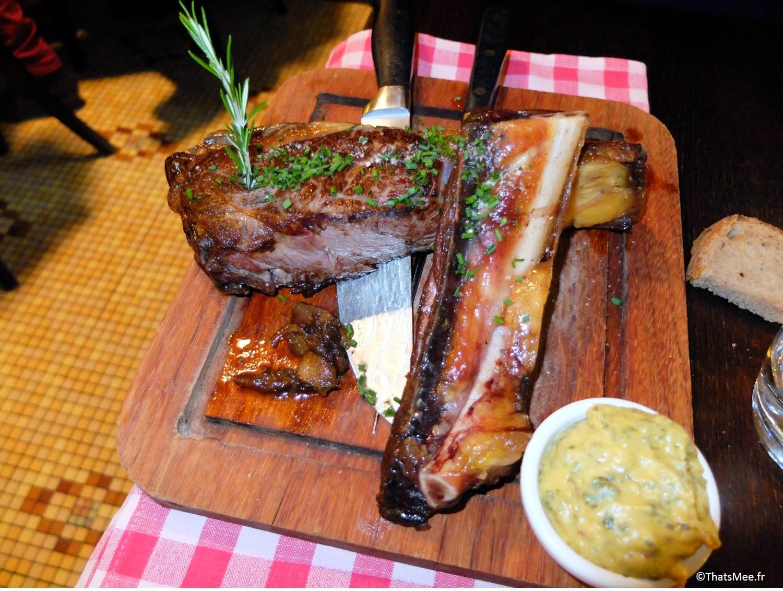 Restaurant viande carnivore Les Crocs de L'ogre Paris 7 Ecole militaire boucherie viandards thatsmee.fr bonnes adresses, côte de boeuf boucher