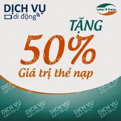 Viettel khuyến mãi 50% giá trị thẻ nạp ngày 31/03, 01/04/2015