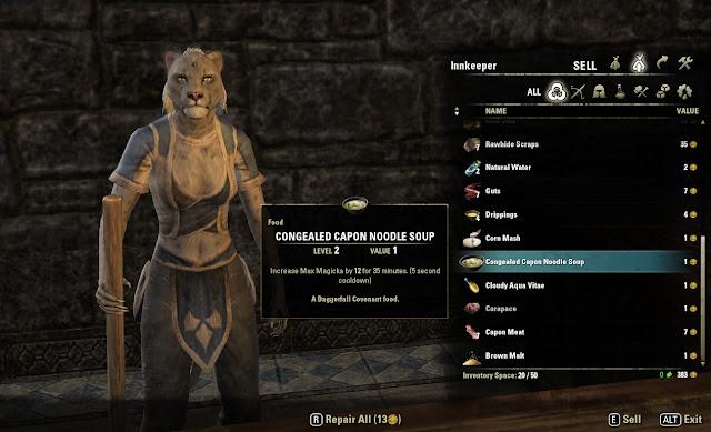 Elder Scrolls Online shop screen