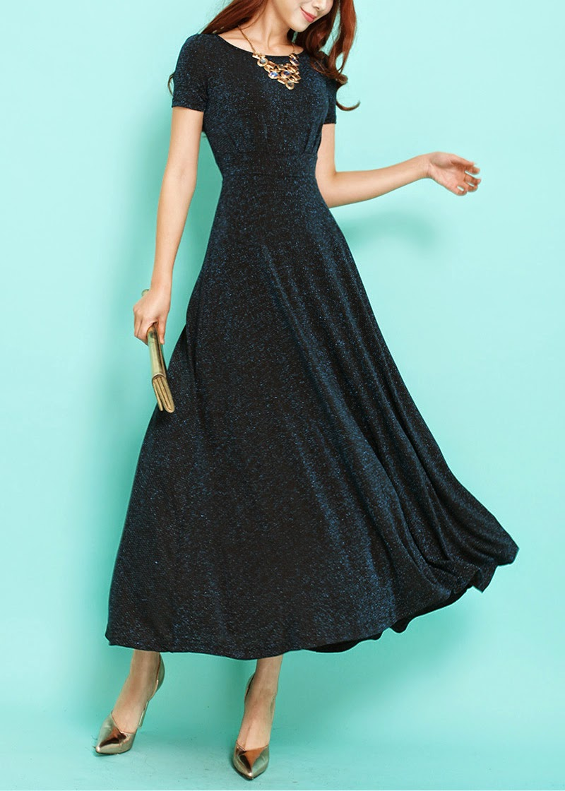 Short Sleeve Starry Midnight Blue Maxi Dress