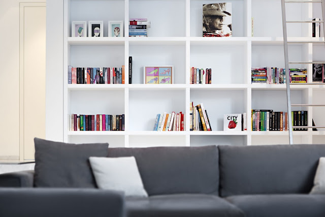 White book shelf in the living room