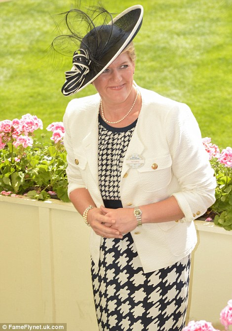 Clare Balding in a cream jacket and print dress on day 4 of Royal Ascot 2014