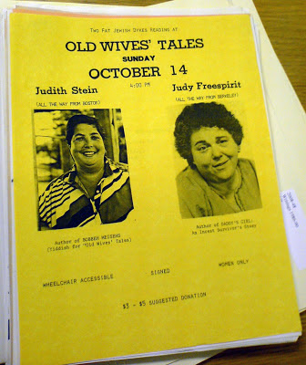 Flyer or poster on yellow paper for a reading by Judith Stein and Judy Freespirit at Old Wives' Tales on 14 October 1984