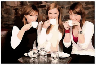 girlriends enjoying coffee together