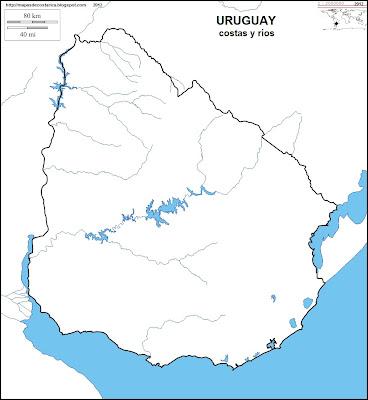 Mapa mudo de URUGUAY, costas y rios