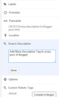 Add Meta Description Tag In Blogger