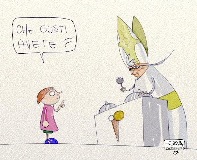 Gava satira vignette Chiesa Papa gusti gelato