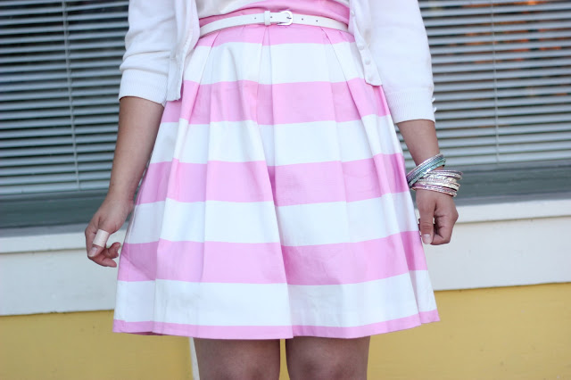 Pink and White Stripe Belted Dress