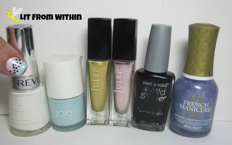 Bottle shot:  Revlon Spirit, Joe Fresh Wave, Julep Nadia and Ellie, Wet 'n Wild Black Creme, and Orly Etoile.