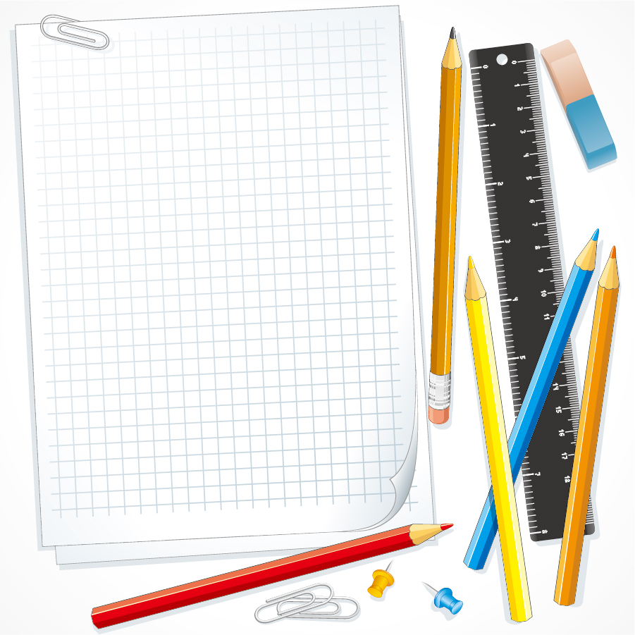 筆記用具のクリップアート school supplies vector イラスト素材