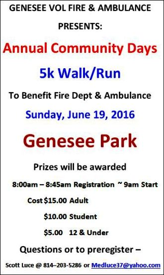 6-19 Genesee 5K Walk/Run