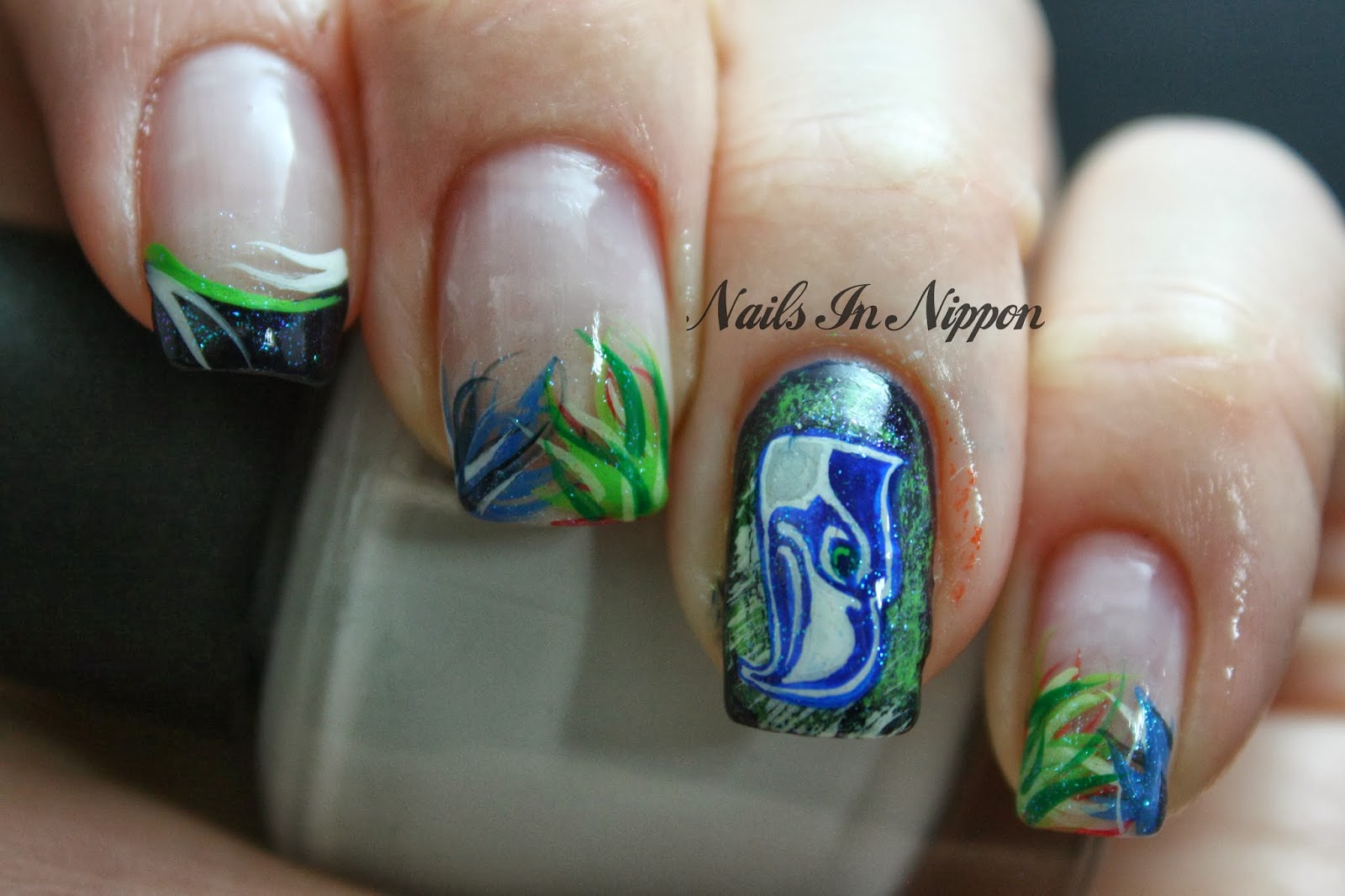 Nails in nippon seahawks vs broncos nail art sticker method you can see that here i made them in my off time at work since its a pain to paint something like the broncos head on my prinsesfo Gallery
