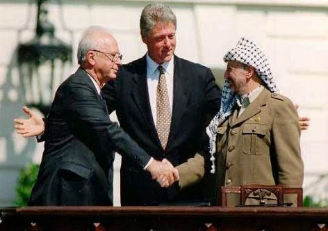 Arafat, Rabin e Clinton - Acordo de Oslo