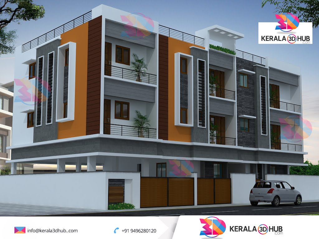 Luxury Modern Apartment 3D Exterior Design By Kerala 3d Hub Designers