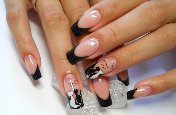 Three Black And White Nails Art