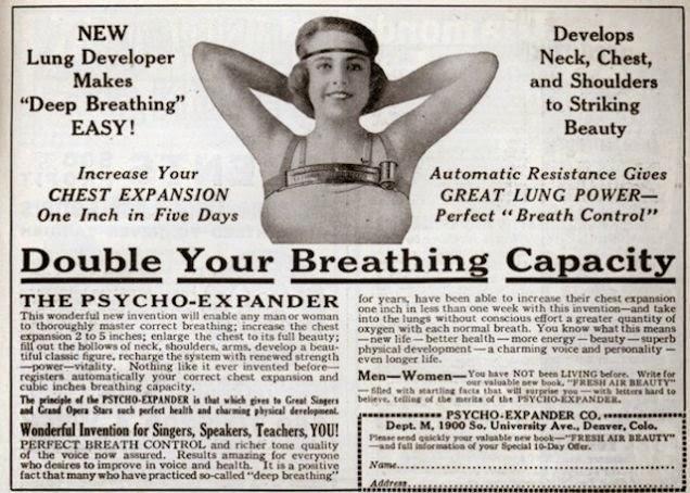 """Uma propaganda de 1924 promete que o equipamento vai """"aumentar seus seios até sua total beleza""""."""