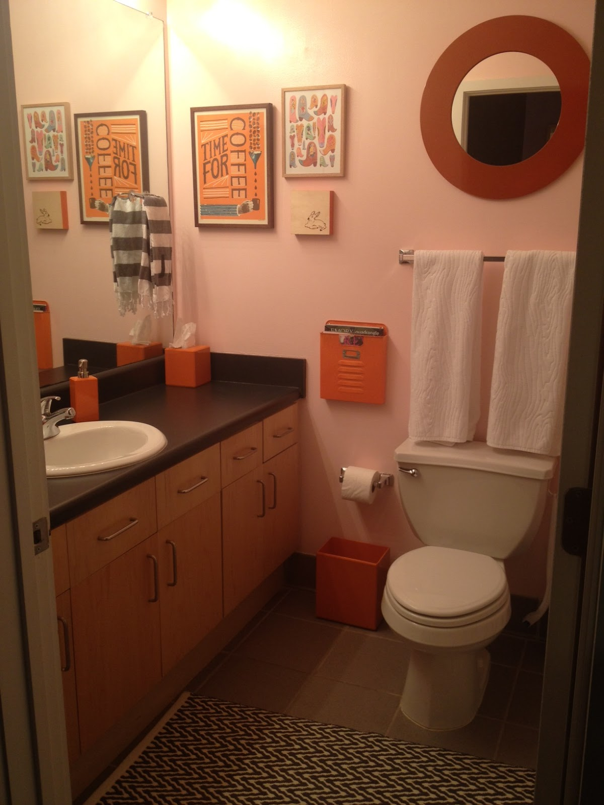 Pink orange june 2012 for Pink and orange bathroom ideas