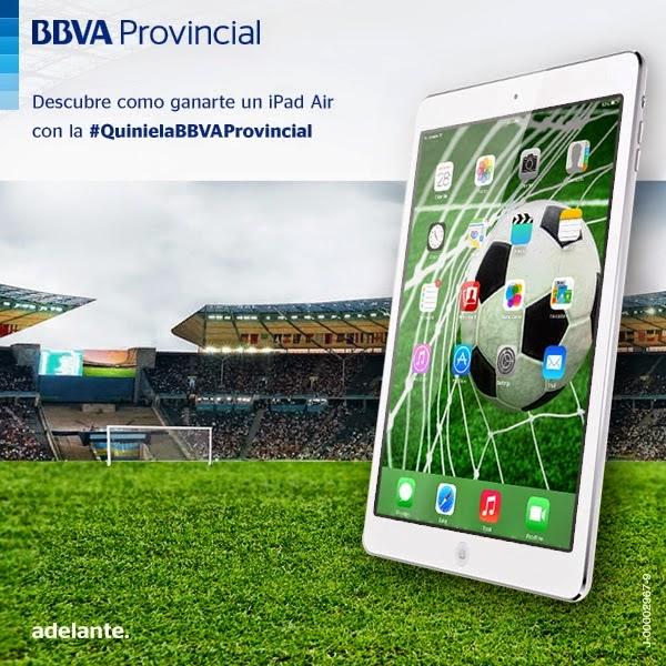 Bajo la etiqueta #QuinielaBBVAProvincial Con esta promoción, la institución quiere celebrar la cita deportiva que cada cuatro años emociona al mundo entero En el marco de la celebración del Campeonato de Fútbol más importante del mundo a celebrarse en Brasil, y en línea con su estrategia de impulso de iniciativas digitales especialmente orientadas al deporte, BBVA Provincial lanzó una nueva promoción para los seguidores de sus redes sociales. Se trata de la #QuinielaBBVAProvincial, una iniciativa de gamificación alojada en su FanPage (BBVAProvincial.adelante) que invita a los participantes a hacer su pronóstico de resultados para ganar un iPad Air. Participar es
