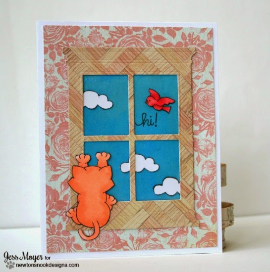 Cat looking through Window Card by Jess Moyer | Newton's Nook Designs Stamps