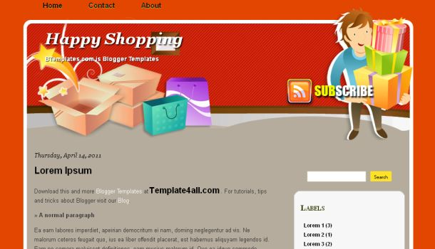Free Orange Gray Shop Blogger Template