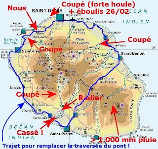 Carte situation après passage de Gamède en 2007