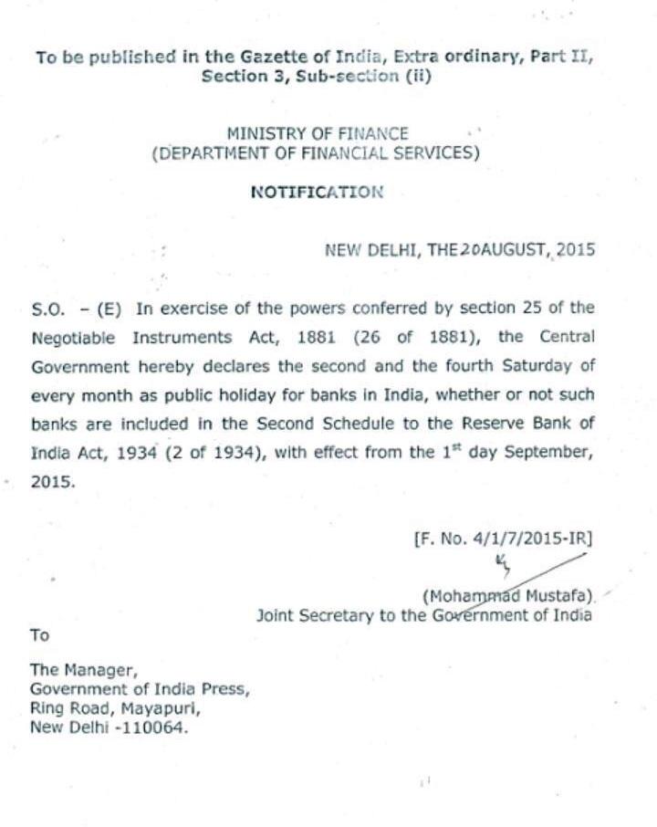 Gazette Notification Given Below