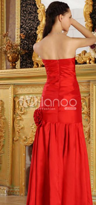 Slim Rouge taffetas bretelles sirène trompette Décoration Fleur robe de bal