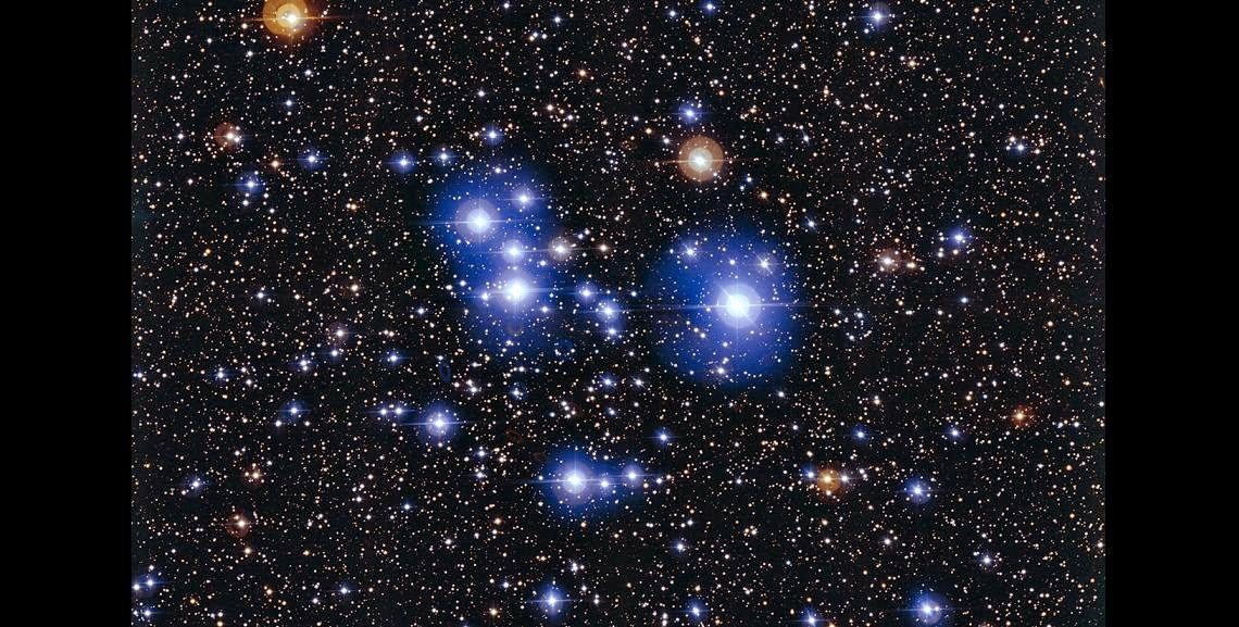 This spectacular image of the star cluster Messier 47 was taken using the Wide Field Imager camera, installed on the MPG/ESO 2.2-metre telescope at ESO's La Silla Observatory in Chile. This young open cluster is dominated by a sprinkling of brilliant blue stars but also contains a few contrasting red giant stars. Credit: ESO