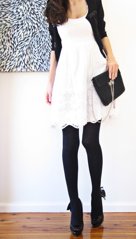 Blonde ambition white dress black tights