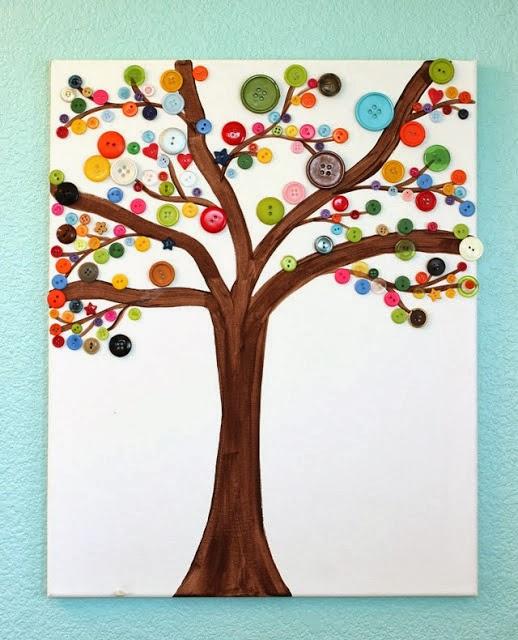 Reciclatex Cómo hacer un cuadro de árbol de botones button art craft