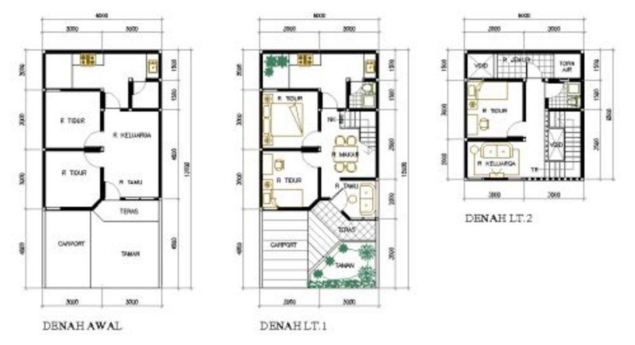 model denah rumah miinimalis 2 lantai populer