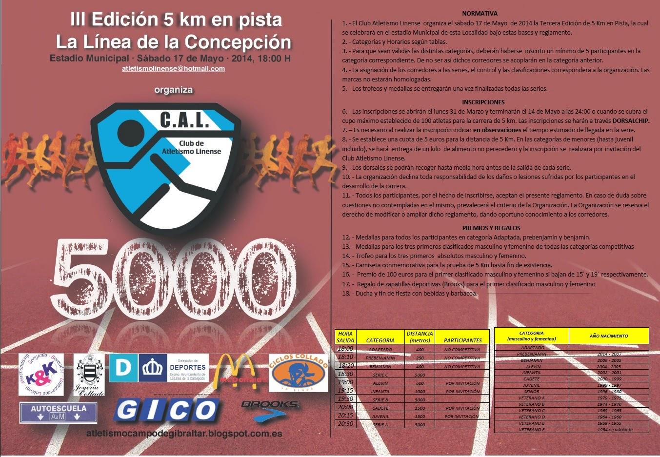 III EDICIÓN 5 KMS EN PISTA DE LA LINEA DE LA CONCEPCIÓN