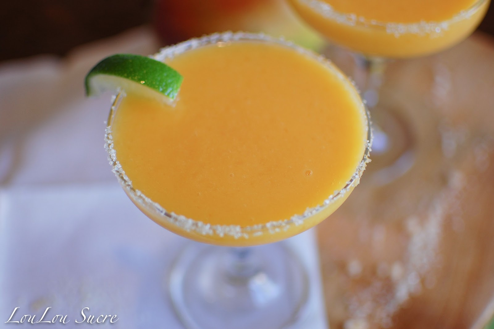 Thirsty Thursday--Frozen Mango Margaritas with Ginger Orange Sugar
