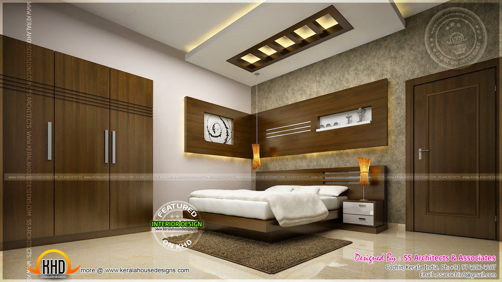 Awesome master bedroom interior kerala home design and for Interior bed design images