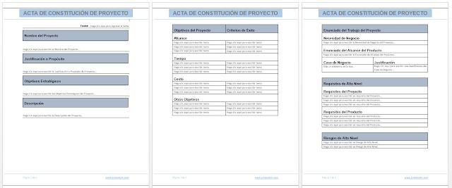 Plantilla Acta de Constitución del Proyecto Charter