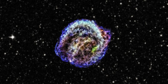 The remnant of Kepler's supernova, the famous explosion that was discovered by Johannes Kepler in 1604. Credit: X-ray: NASA/CXC/NCSU/M.Burkey et al; Infrared: NASA/JPL-Caltech