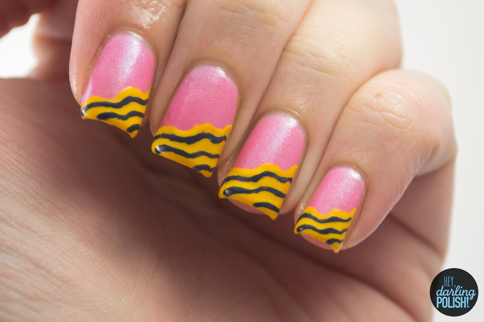 nails, nail art, nail polish, polish, hey darling polish, tri polish challenge, pink, blue, yellow, tpc, waves